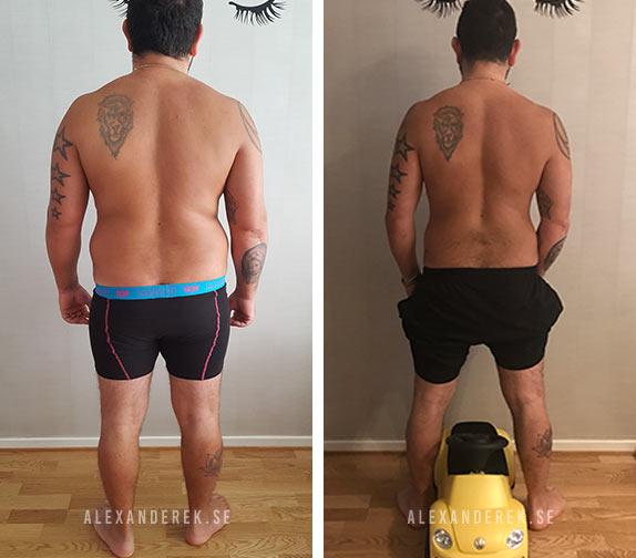Dennis resultat, 12 veckors träning och kostschema